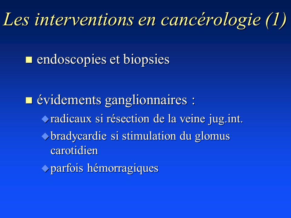 Les interventions en cancérologie (1) n endoscopies et biopsies n évidements ganglionnaires : u radicaux si résection de la veine jug.int. u bradycard