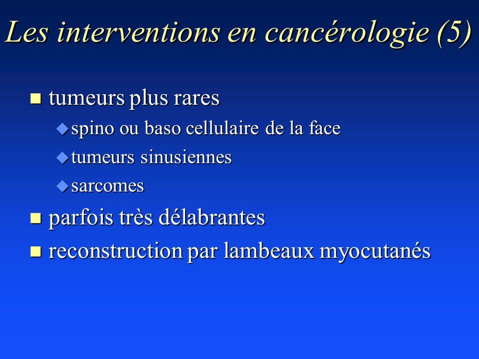 Les interventions en cancérologie (5) n tumeurs plus rares u spino ou baso cellulaire de la face u tumeurs sinusiennes u sarcomes n parfois très délab