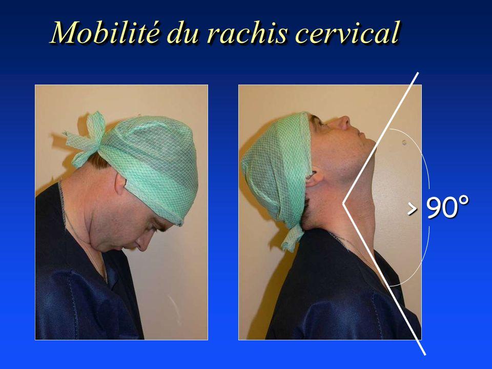 > 90° Mobilité du rachis cervical