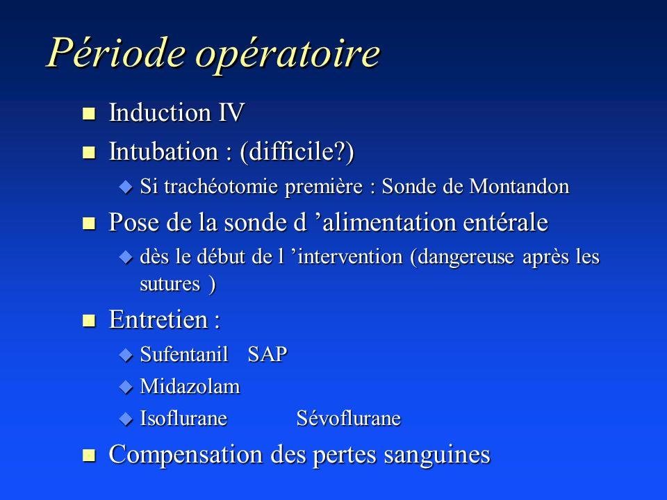 Période opératoire n Induction IV n Intubation : (difficile?) u Si trachéotomie première : Sonde de Montandon n Pose de la sonde d alimentation entéra