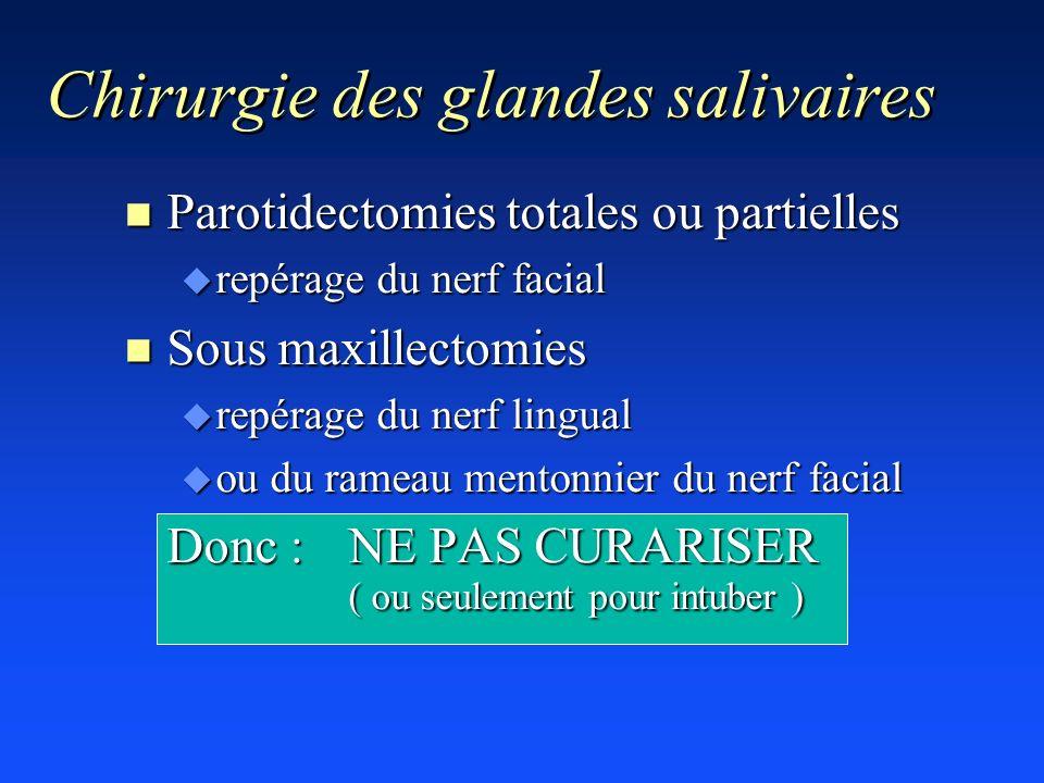n Parotidectomies totales ou partielles u repérage du nerf facial n Sous maxillectomies u repérage du nerf lingual u ou du rameau mentonnier du nerf f