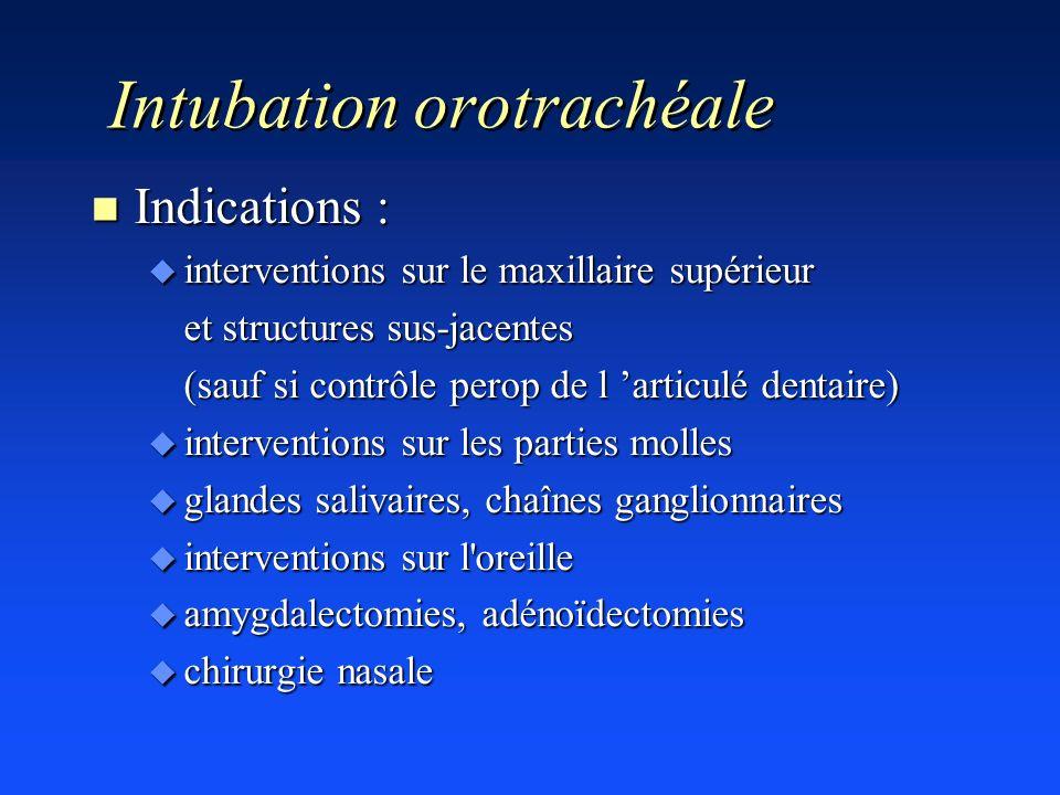 Intubation orotrachéale n Indications : u interventions sur le maxillaire supérieur et structures sus-jacentes (sauf si contrôle perop de l articulé d