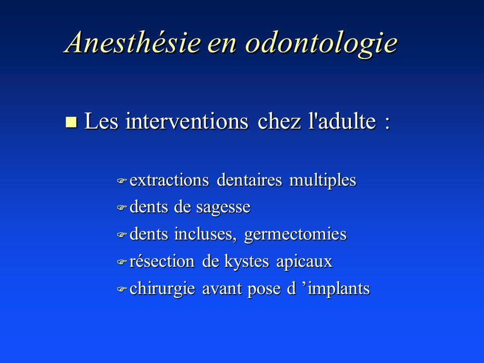 Anesthésie en odontologie n Les interventions chez l'adulte : F extractions dentaires multiples F dents de sagesse F dents incluses, germectomies F ré