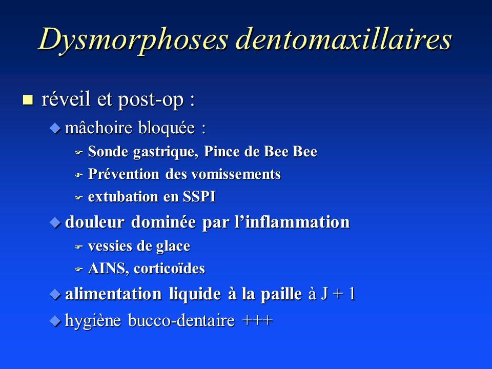 Dysmorphoses dentomaxillaires n réveil et post-op : u mâchoire bloquée : F Sonde gastrique, Pince de Bee Bee F Prévention des vomissements F extubatio