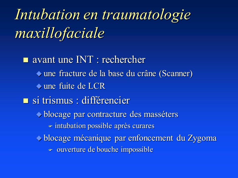 Intubation en traumatologie maxillofaciale n avant une INT : rechercher u une fracture de la base du crâne (Scanner) u une fuite de LCR n si trismus :