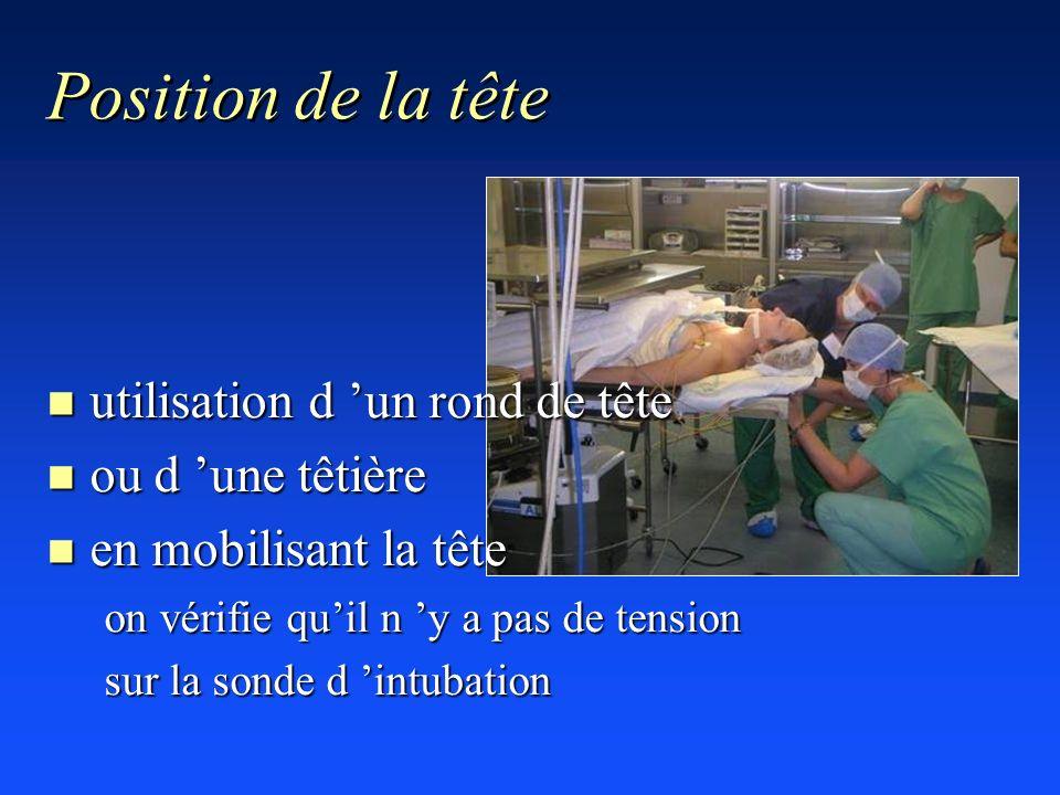 Position de la tête n utilisation d un rond de tête n ou d une têtière n en mobilisant la tête on vérifie quil n y a pas de tension sur la sonde d int