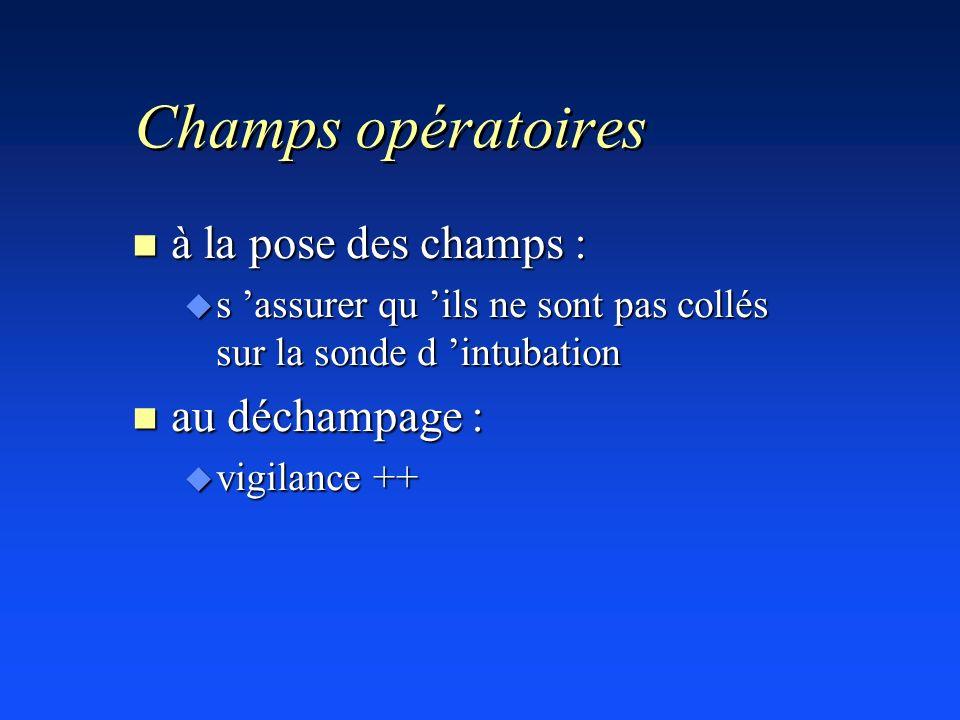 Champs opératoires n à la pose des champs : u s assurer qu ils ne sont pas collés sur la sonde d intubation n au déchampage : u vigilance ++