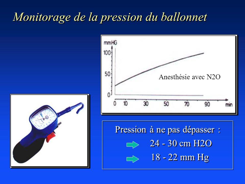 Monitorage de la pression du ballonnet Pression à ne pas dépasser : 24 - 30 cm H2O 18 - 22 mm Hg Pression à ne pas dépasser : 24 - 30 cm H2O 18 - 22 m