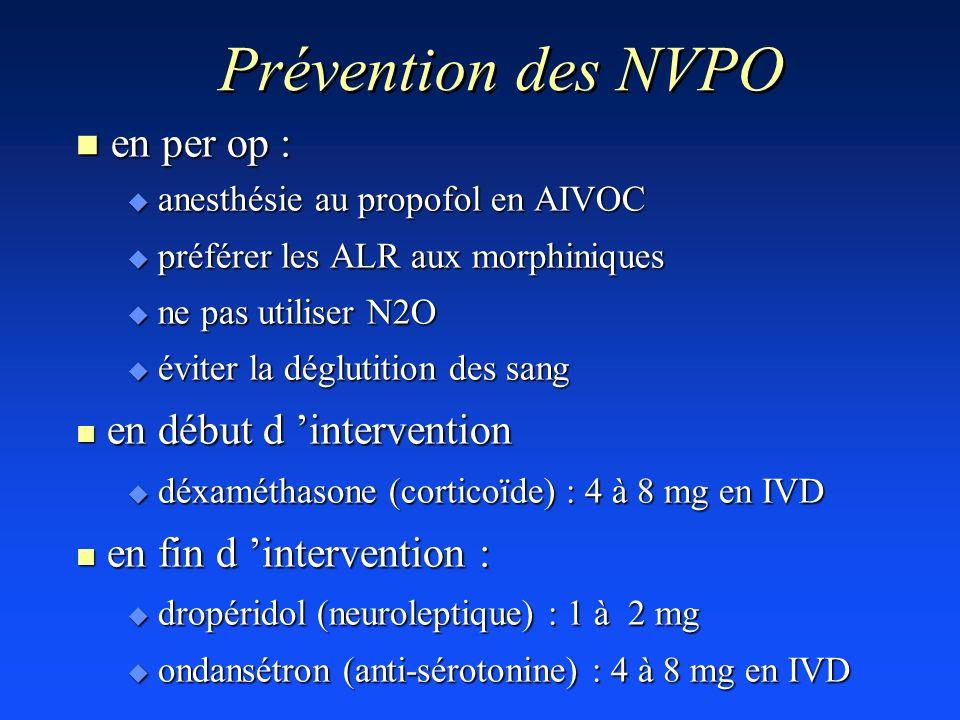 Prévention des NVPO n en per op : u anesthésie au propofol en AIVOC u préférer les ALR aux morphiniques u ne pas utiliser N2O u éviter la déglutition