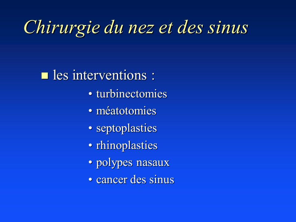 Chirurgie du nez et des sinus n les interventions : turbinectomiesturbinectomies méatotomiesméatotomies septoplastiesseptoplasties rhinoplastiesrhinop