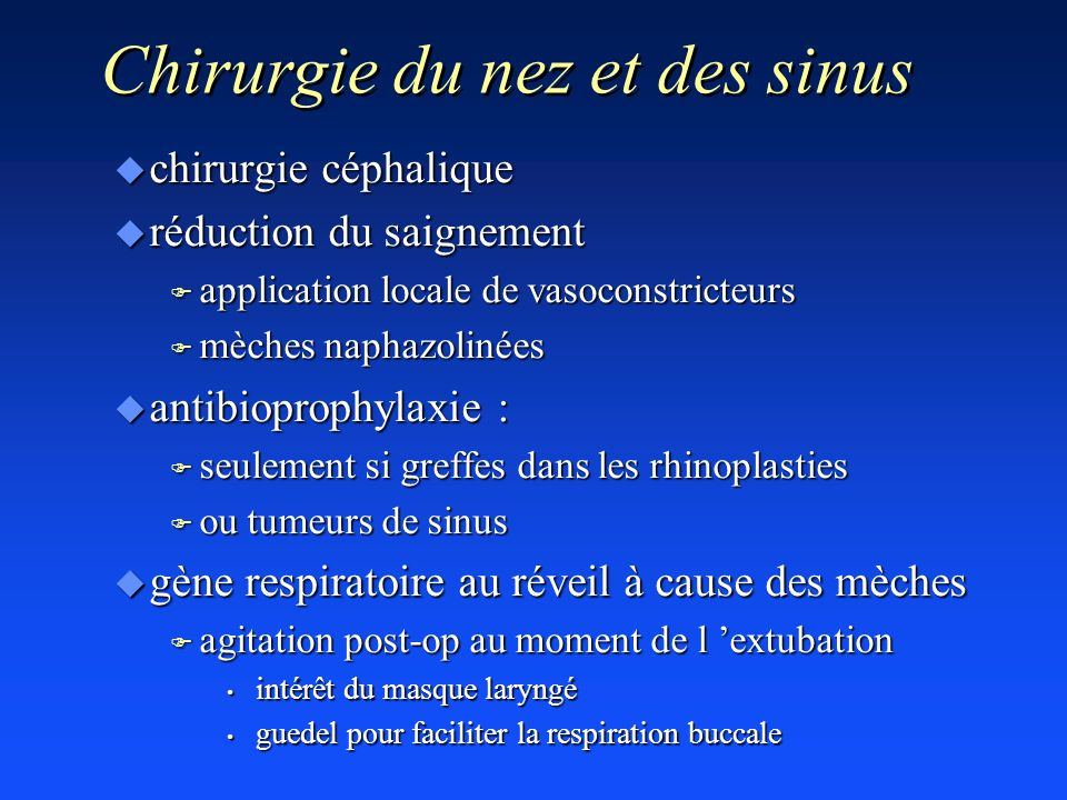 Chirurgie du nez et des sinus u chirurgie céphalique u réduction du saignement F application locale de vasoconstricteurs F mèches naphazolinées u anti