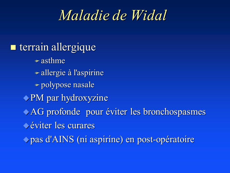 Maladie de Widal n terrain allergique F asthme F allergie à l'aspirine F polypose nasale u PM par hydroxyzine u AG profonde pour éviter les bronchospa
