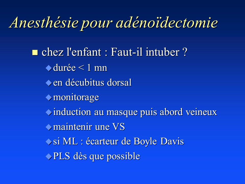 Anesthésie pour adénoïdectomie n chez l'enfant : Faut-il intuber ? u durée < 1 mn u en décubitus dorsal u monitorage u induction au masque puis abord