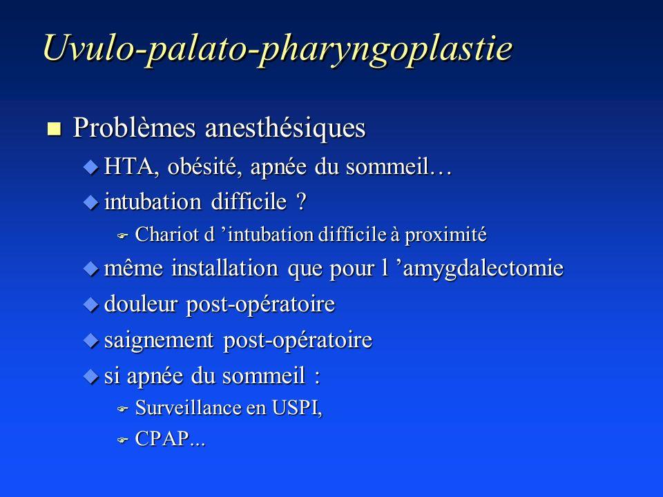 Uvulo-palato-pharyngoplastie n Problèmes anesthésiques u HTA, obésité, apnée du sommeil… u intubation difficile ? F Chariot d intubation difficile à p