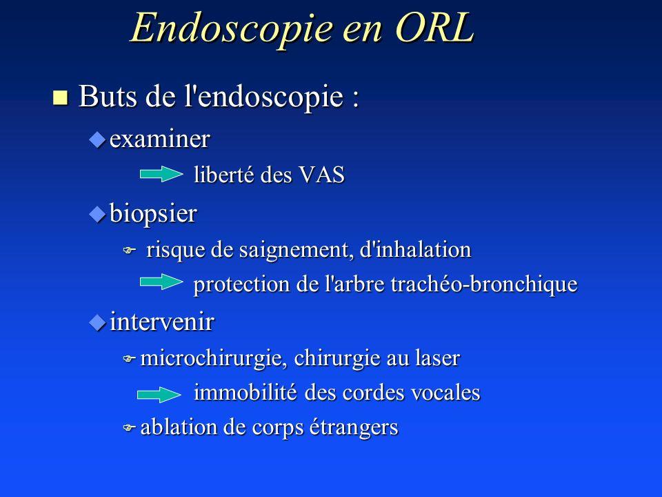 n Buts de l'endoscopie : u examiner liberté des VAS u biopsier F risque de saignement, d'inhalation protection de l'arbre trachéo-bronchique protectio