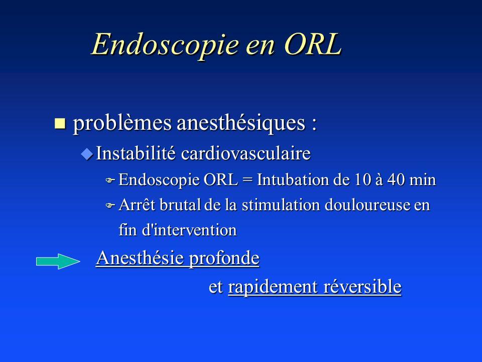 Endoscopie en ORL n problèmes anesthésiques : u Instabilité cardiovasculaire F Endoscopie ORL = Intubation de 10 à 40 min F Arrêt brutal de la stimula