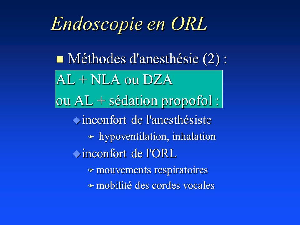 n Méthodes d'anesthésie (2) : AL + NLA ou DZA ou AL + sédation propofol : u inconfort de l'anesthésiste F hypoventilation, inhalation u inconfort de l