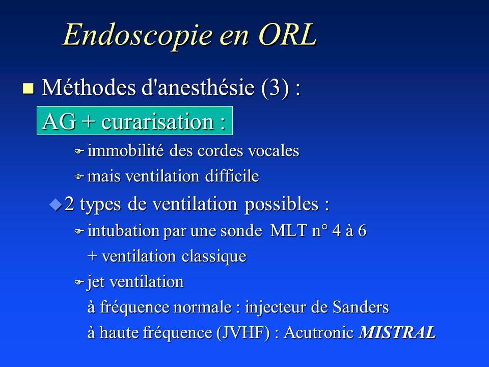 n Méthodes d'anesthésie (3) : AG + curarisation : F immobilité des cordes vocales F mais ventilation difficile u 2 types de ventilation possibles : F