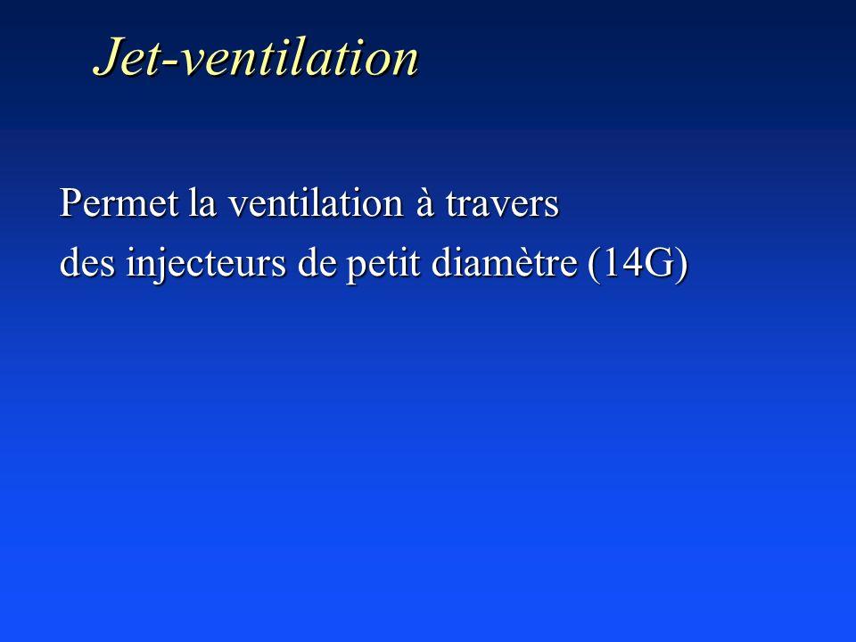 Jet-ventilation Permet la ventilation à travers des injecteurs de petit diamètre (14G)
