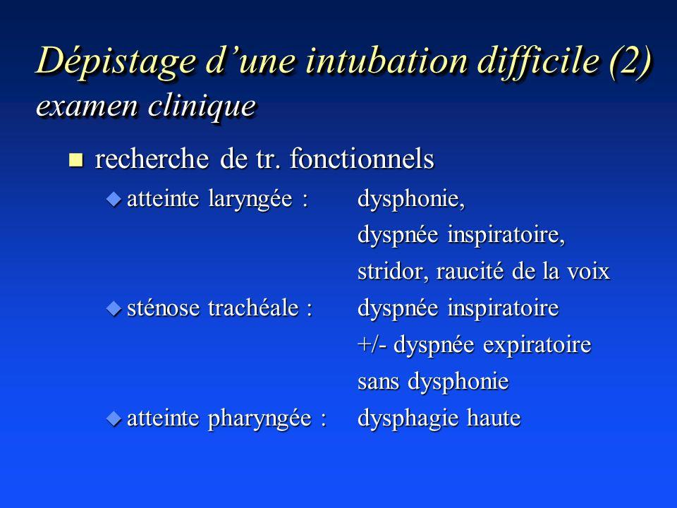 Dépistage dune intubation difficile (2) examen clinique n recherche de tr. fonctionnels u atteinte laryngée : dysphonie, dyspnée inspiratoire, stridor