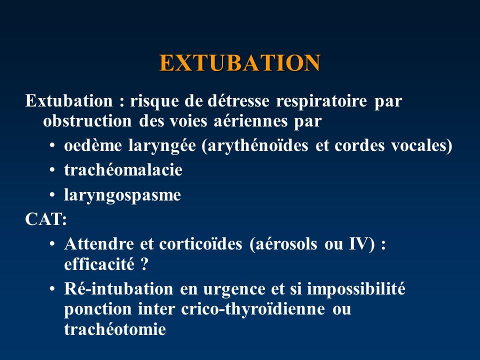 EXTUBATION Extubation : risque de détresse respiratoire par obstruction des voies aériennes par oedème laryngée (arythénoïdes et cordes vocales) trach