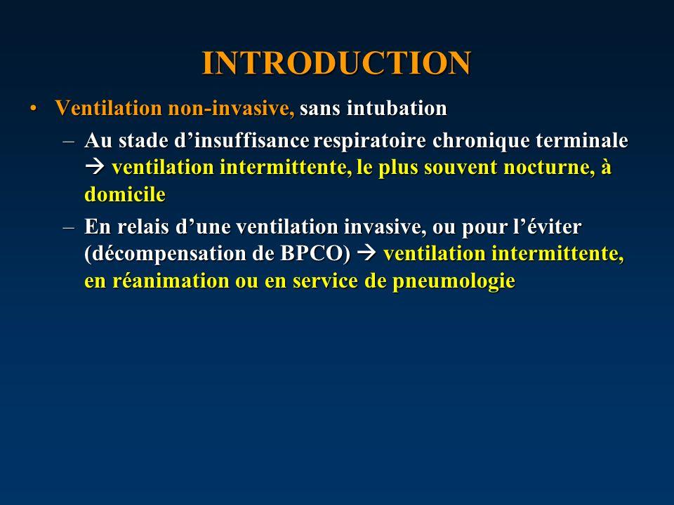 INTRODUCTION Ventilation non-invasive, sans intubationVentilation non-invasive, sans intubation –Au stade dinsuffisance respiratoire chronique termina