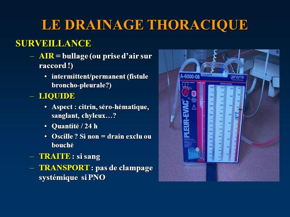 LE DRAINAGE THORACIQUE SURVEILLANCE –AIR = bullage (ou prise dair sur raccord !) intermittent/permanent (fistule broncho-pleurale?)intermittent/perman