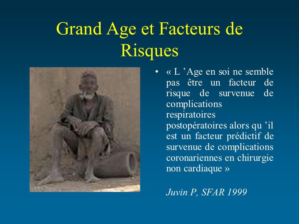 Grand Age et Facteurs de Risques « L Age en soi ne semble pas être un facteur de risque de survenue de complications respiratoires postopératoires alo