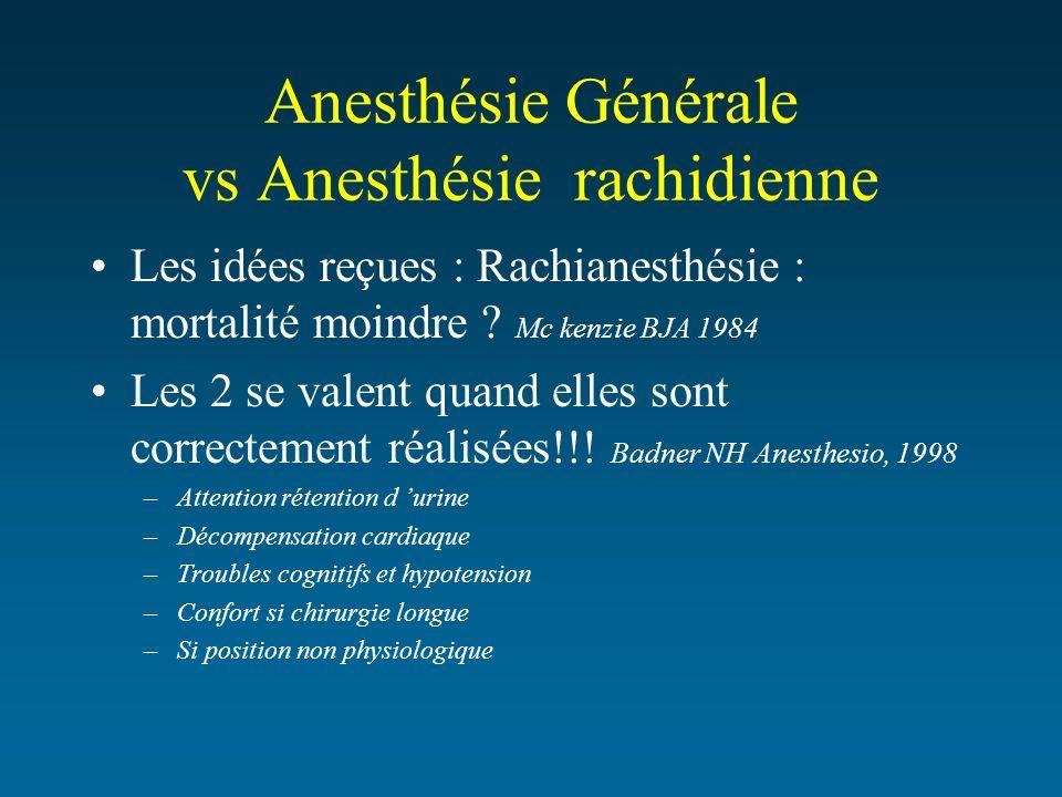 Anesthésie Générale vs Anesthésie rachidienne Les idées reçues : Rachianesthésie : mortalité moindre ? Mc kenzie BJA 1984 Les 2 se valent quand elles