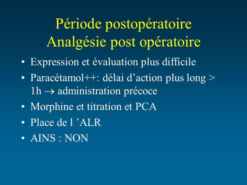 Période postopératoire Analgésie post opératoire Expression et évaluation plus difficile Paracétamol++: délai daction plus long > 1h administration pr