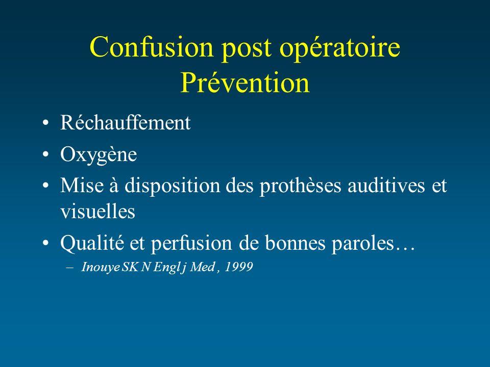 Confusion post opératoire Prévention Réchauffement Oxygène Mise à disposition des prothèses auditives et visuelles Qualité et perfusion de bonnes paro