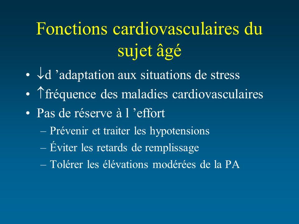 Fonctions cardiovasculaires du sujet âgé d adaptation aux situations de stress fréquence des maladies cardiovasculaires Pas de réserve à l effort –Pré