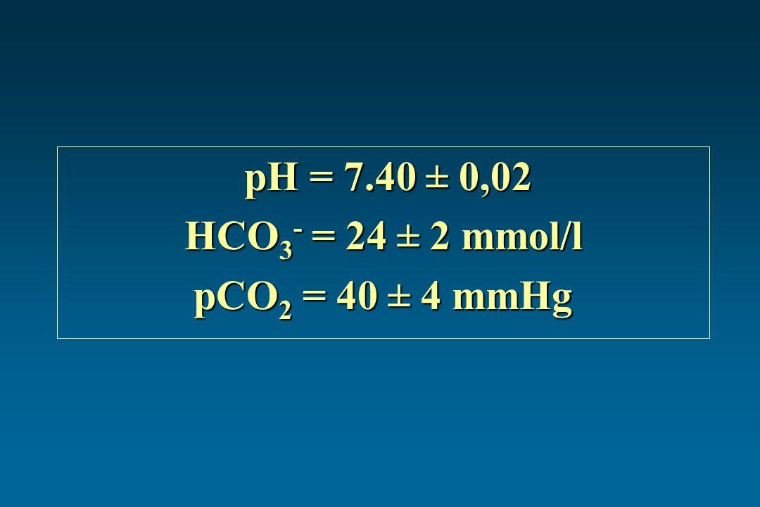 pH = 7.40 ± 0,02 pH = 7.40 ± 0,02 HCO 3 - = 24 ± 2 mmol/l pCO 2 = 40 ± 4 mmHg