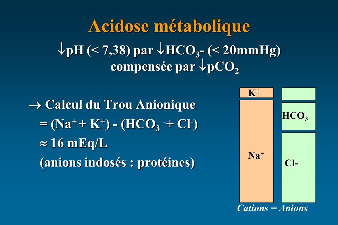 Acidose métabolique pH (< 7,38) par HCO 3 - (< 20mmHg) compensée par pCO 2 pH (< 7,38) par HCO 3 - (< 20mmHg) compensée par pCO 2 Calcul du Trou Anionique Calcul du Trou Anionique = (Na + + K + ) - (HCO 3 - + Cl - ) 16 mEq/L 16 mEq/L (anions indosés : protéines) Cations = Anions Na + Cl- K+K+K+K+ HCO 3 -