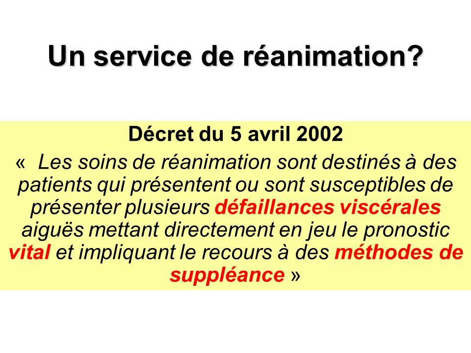 Un service de réanimation? Décret du 5 avril 2002 « Les soins de réanimation sont destinés à des patients qui présentent ou sont susceptibles de prése