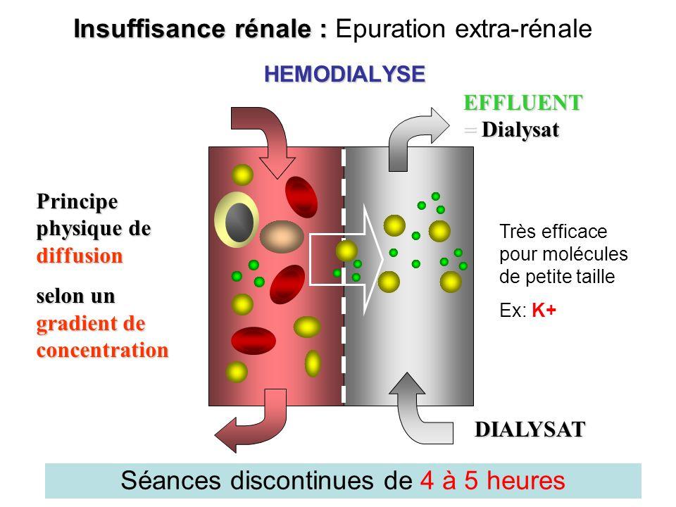 HEMODIALYSE EFFLUENT = Dialysat DIALYSAT Principe physique de diffusion selon un gradient de concentration Insuffisance rénale : Insuffisance rénale :