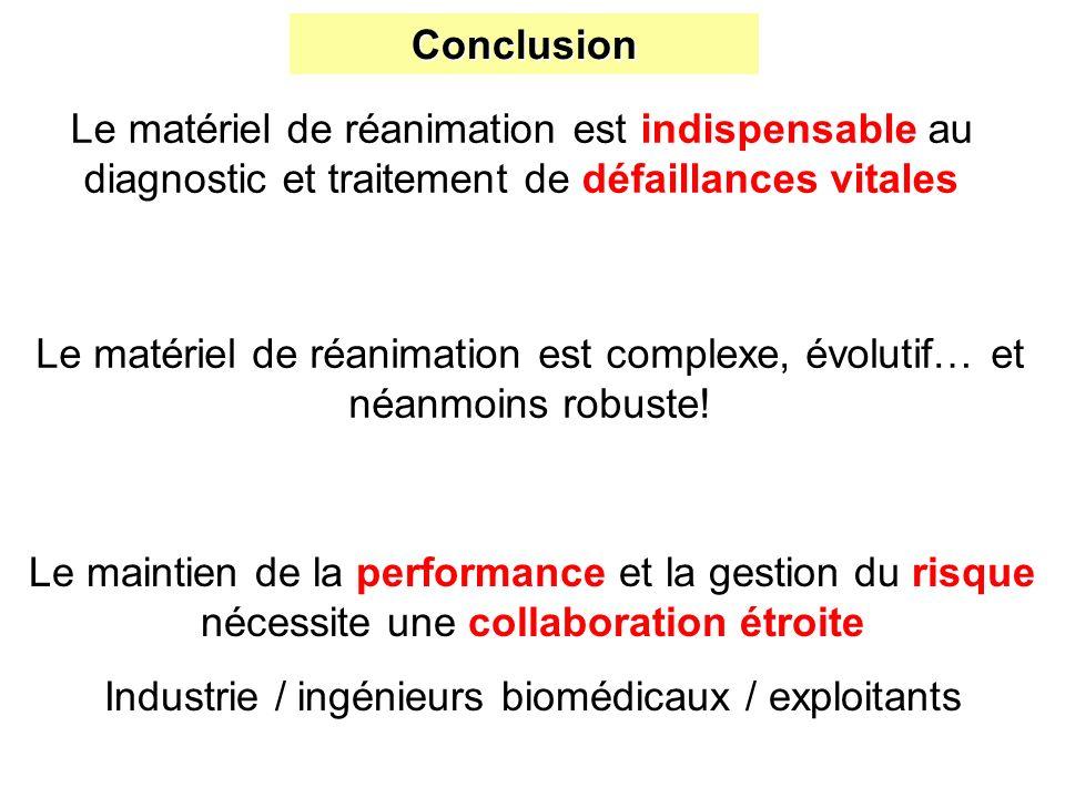 Conclusion Le matériel de réanimation est indispensable au diagnostic et traitement de défaillances vitales Le matériel de réanimation est complexe, é