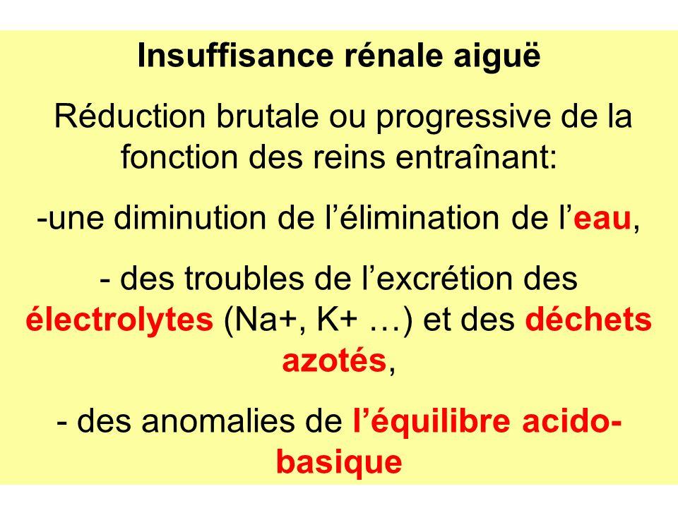 Insuffisance rénale aiguë Réduction brutale ou progressive de la fonction des reins entraînant: -une diminution de lélimination de leau, - des trouble