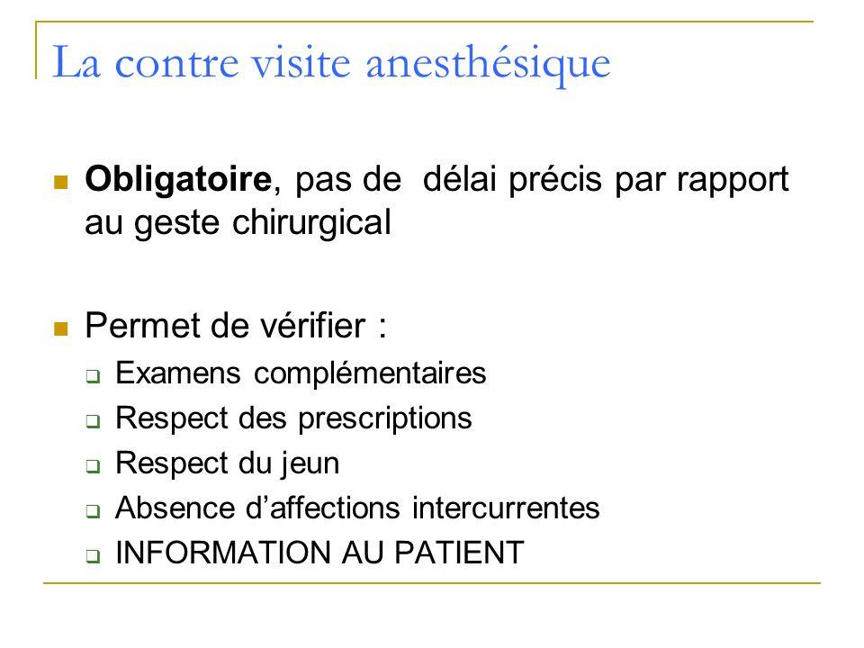 La contre visite anesthésique Obligatoire, pas de délai précis par rapport au geste chirurgical Permet de vérifier : Examens complémentaires Respect d
