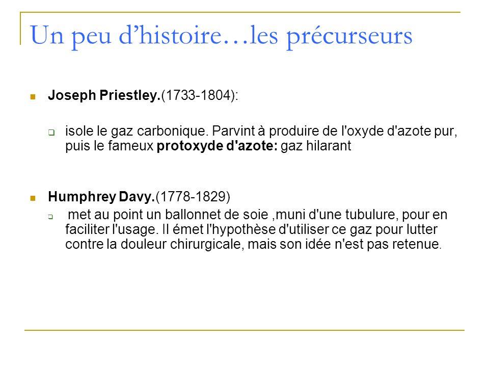 Un peu dhistoire…les précurseurs Michael Faraday.(1791-1867): En 1818, ce jeune préparateur en pharmacie découvre les pouvoirs narcotiques des vapeurs d éther Henry Hill Hickman.(1801-1830) Jeune médecin, il va se consacrer à l étude expérimentale rigoureuse de ces différents gaz sur l animal.