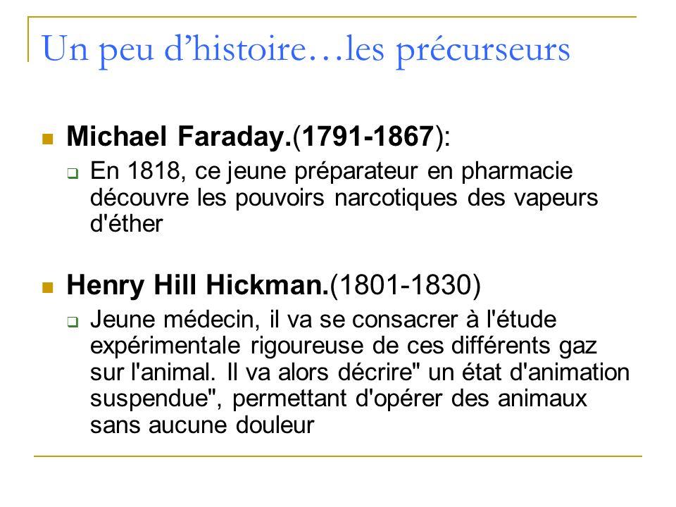 Un peu dhistoire…les précurseurs Michael Faraday.(1791-1867): En 1818, ce jeune préparateur en pharmacie découvre les pouvoirs narcotiques des vapeurs