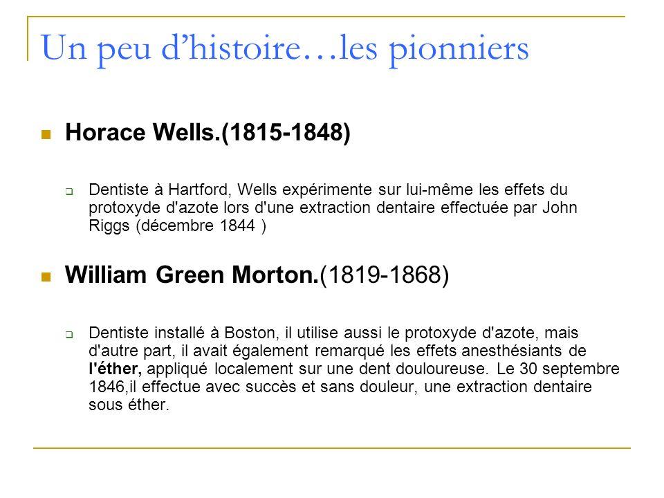 Un peu dhistoire…les pionniers Horace Wells.(1815-1848) Dentiste à Hartford, Wells expérimente sur lui-même les effets du protoxyde d'azote lors d'une
