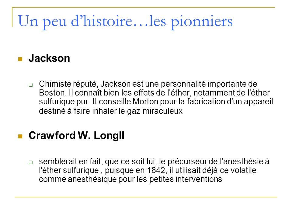 Un peu dhistoire…les pionniers Jackson Chimiste réputé, Jackson est une personnalité importante de Boston. Il connaît bien les effets de l'éther, nota
