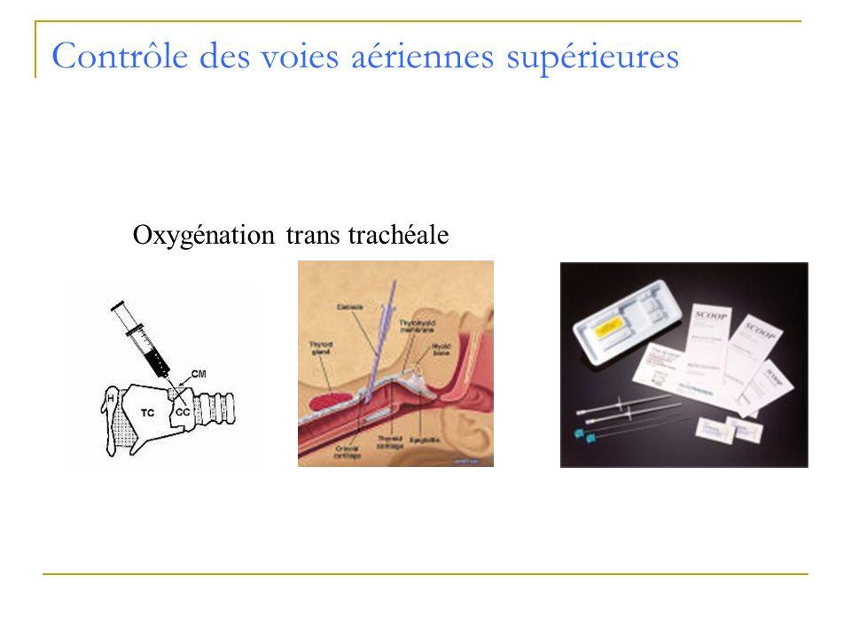 Contrôle des voies aériennes supérieures Oxygénation trans trachéale