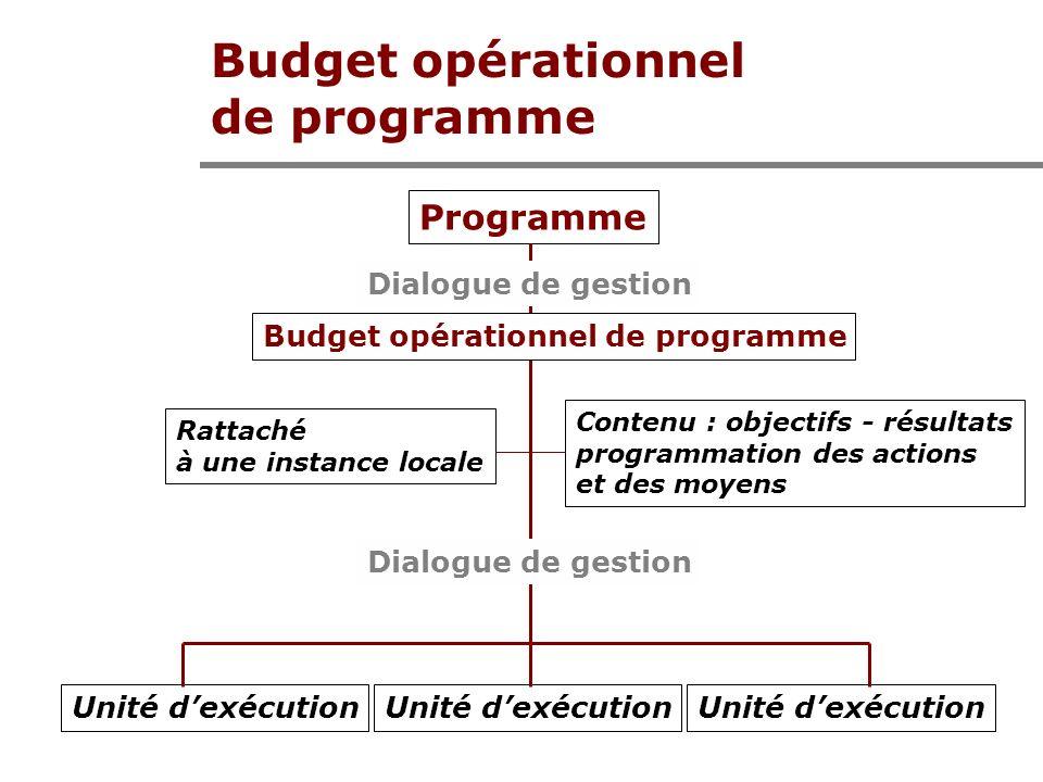 Budget opérationnel de programme Programme Unité dexécution Dialogue de gestion Budget opérationnel de programme Rattaché à une instance locale Contenu : objectifs - résultats programmation des actions et des moyens
