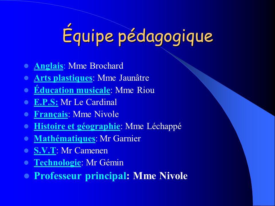Équipe pédagogique Anglais: Mme Brochard Arts plastiques: Mme Jaunâtre Éducation musicale: Mme Riou E.P.S: Mr Le Cardinal Français: Mme Nivole Histoir