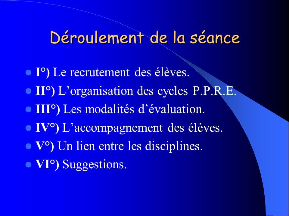 Déroulement de la séance I°) Le recrutement des élèves. II°) Lorganisation des cycles P.P.R.E. III°) Les modalités dévaluation. IV°) Laccompagnement d