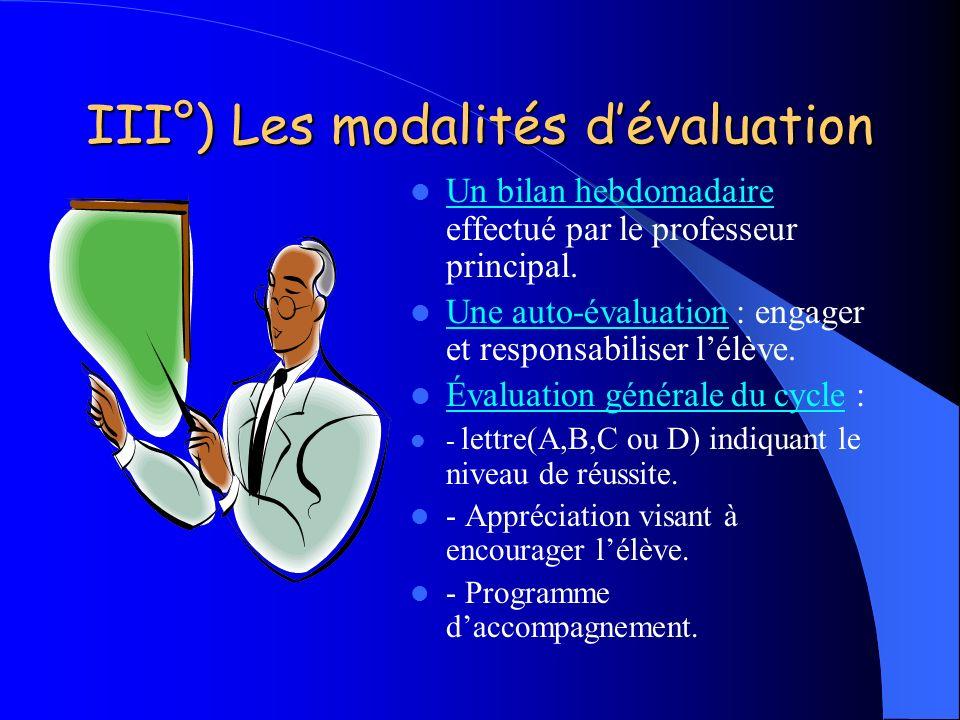 III°) Les modalités dévaluation Un bilan hebdomadaire effectué par le professeur principal. Une auto-évaluation : engager et responsabiliser lélève. É