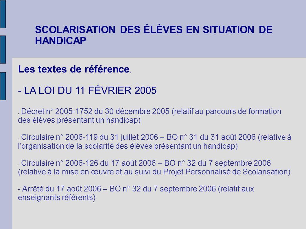 SCOLARISATION DES ÉLÈVES EN SITUATION DE HANDICAP Les textes de référence. - LA LOI DU 11 FÉVRIER 2005 - Décret n° 2005-1752 du 30 décembre 2005 (rela