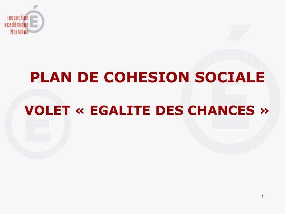 PLAN DE COHESION SOCIALE VOLET « EGALITE DES CHANCES » 1